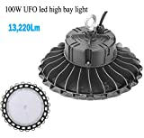 1000LED LED UFO High Bay Light, 100W, 13,220Lm, (400W Eq.), 5000K, AC 110-277V Waterproof, IP65, Industrial Warehouse High Bay, 5 Years Warranty