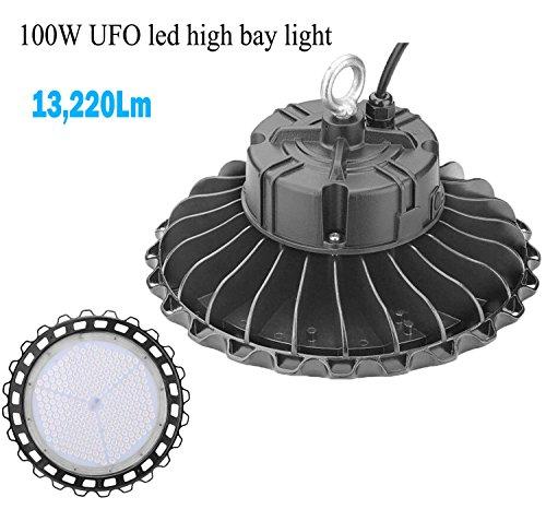 1000LED LED UFO High Bay Light, 100W, 0-10V Dimmable, 13,220Lm, (400W Eq.), 5000K, AC110-277V, Waterproof IP65, Industrial Warehouse High Bay