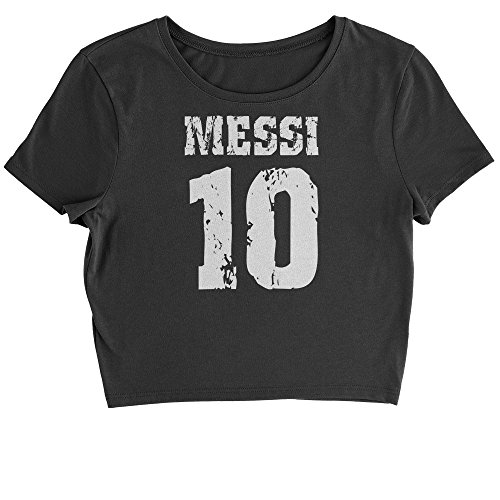 Expression Tees Cropped T-Shirt Messi 10 Football T-Shirt Small Black