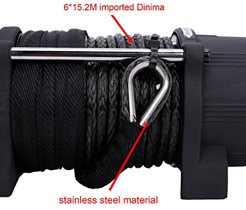 RUGCEL WINCH Waterproof IP68 Offroad 5000 lbs Load Capacity 1.9Hp 12V Electric Winch with Hawse Fairlead, Synthetic Rope, 2 Wired Handle and 2 Wireless Remote (5000 lbs) by RUGCEL WINCH (Image #2)