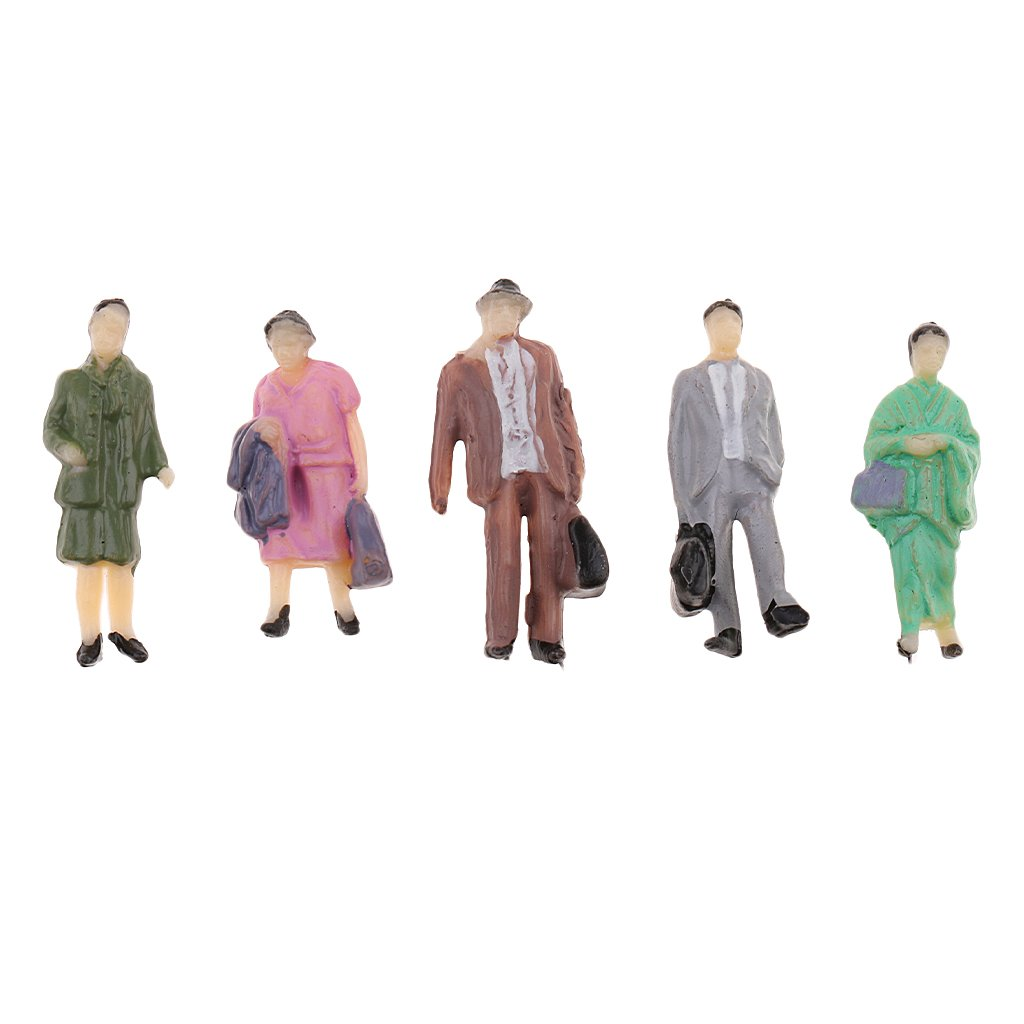 D DOLITY 50x OO HO Scale 1:87 Mix Painted Model Train Street Passenger People Figures