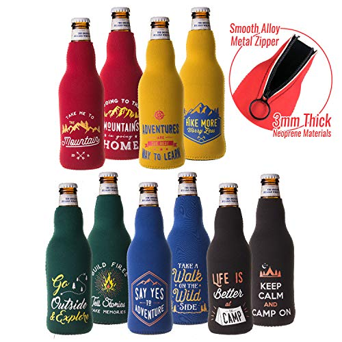Avery Barn 10pc Neoprene Beer Bottle Sleeve Stretchy Insulated Sleeve Cover - Set 1: Great - Bottle Theme