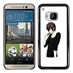 A-type Colorful Printed Hard Protective Back Case Cover Shell Skin for HTC One M9 ( Japanese Anime Black Man Guy Asian )