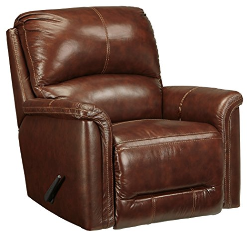 Ashley Leather Recliner - Signature Design by Ashley 8660125 Lacotter Recliner, Saddle