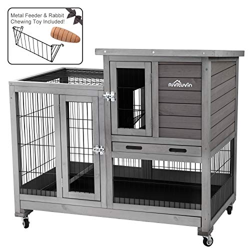 (Aivituvin Cage for Bunny Indoor and Outdoor Rabbit Hutch Wood House for Small Pet Animals with Run - 4 Casters Included)