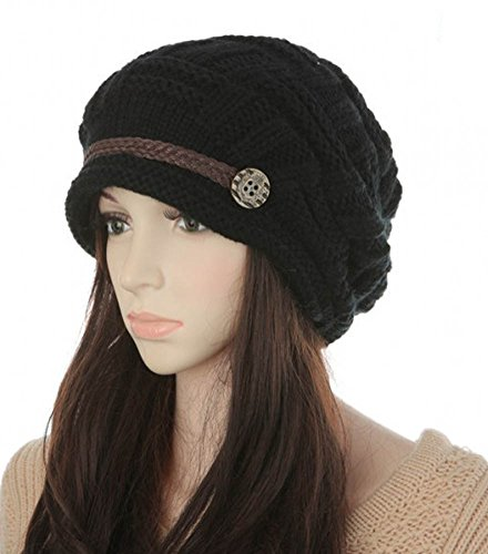 YCHY Slouch Women hat Winter Baggy Snowboarding Knit Snow Warm Hat Beanie Crochet Cap (black)