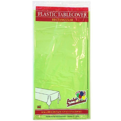 Plastic Party Tablecloths - Disposable, Rectangular Tablecovers - 4 Pack - Lime Green - By Party Dimensions
