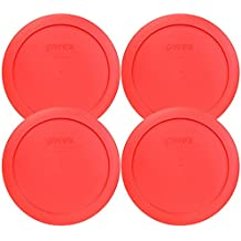"""Pyrex 7201-PC Round Red 6.5"""" 4 Cup Lid for Glass Bowl 4 Pack"""