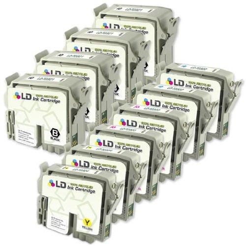 LD © Remanufactured Set of 10 Ink Cartridges for Epson C80: 4 Black & 2 each of Cyan, Magenta, Yellow (Inkjet T032220 Cyan)