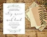 Greenery Wedding Invitation, Leafy Script Wedding Invitation, Simple Organic Wedding Invite