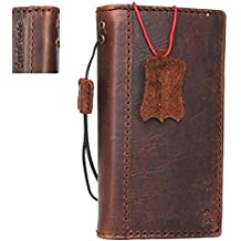 Genuine Leather Case for Apple Iphone 5 5S 5c SE Book Wallet Id Holder Cover Credit Cards slots Natural Handmade brown Slim DavisCase