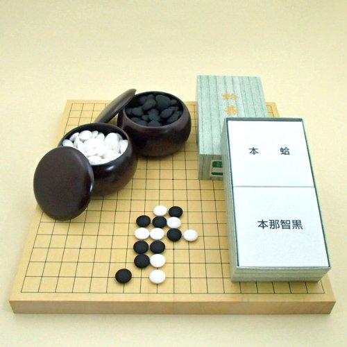囲碁セット  ヒバ10号卓上接合碁盤と日向特製蛤碁石雪印22号と碁笥銘木大のセットの商品画像