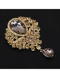MonkeyJack Vintage Jewelry Pendant Brooch Pin Rhinestone Crystal Large Flower Brooch Gift