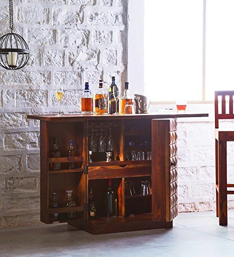 Driftingwood Bar Cabinet for Home - Honey Oak Finish
