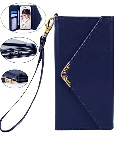 Crosspace iPhone 8 Case, iPhone 7 Wallet Case, Envelope Flip Handbag Shell Women Wallet PU Leather Slim Holster Magnetic Folio Cover with Card Holder Wrist Strap for Apple iPhone 8 iPhone 7 4.7-Blue