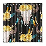 dark grey curtains argos Jesus E Pecor Luxury Smart Cow Skull with Feather Shower Curtain Waterproof Mildewproof Polyester Fabric Bath Curtains Bathroom Product