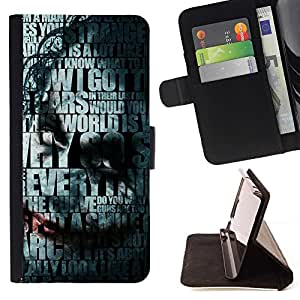 For Sony Xperia m55w Z3 Compact Mini Joker Typography Beautiful Print Wallet Leather Case Cover With Credit Card Slots And Stand Function
