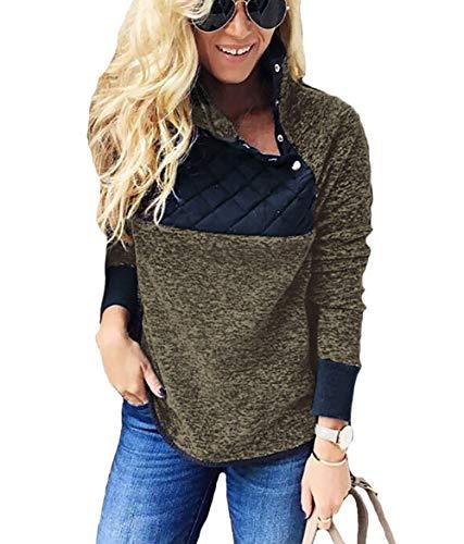 PRETTYGARDEN Women's Warm Long Sleeves Oblique Button Neck Splice Geometric Pattern Fleece Pullover Coat Sweatshirts Outwear (Green, Small)