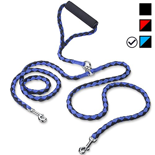 Rickpet Double Dog Leash Heavy Duty 54 Inches Braided No Tangle 360° Dog Leash Coupler, Dual Dog Walking Leash for Twin Large Medium Small Dogs with Soft Handle (Blue) by Rickpet