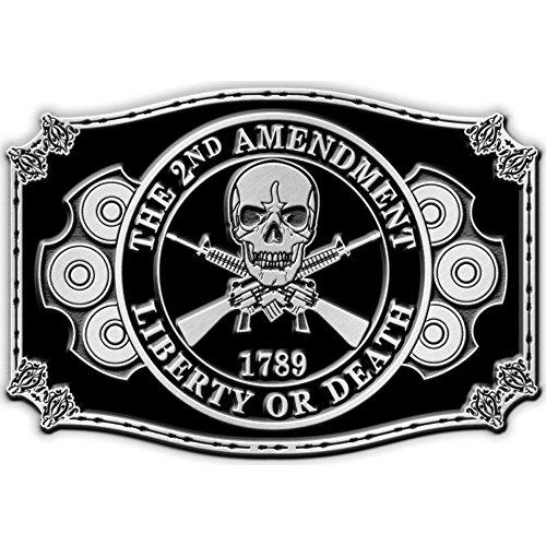 2nd Amendment Skull & Crossed Rifles Belt Buckle