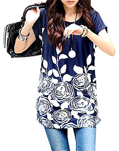 WomeWell Bohemia Women Floral Printed Blouse Oversize Short Sleeve Tops Dress Blue with White Flower (Printed Silk Dress)