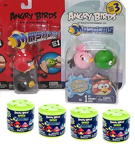 Tech4Kids Angry Birds Mashems Set of 8 Red Bird, Black Bird, Pink Bird Stella, Green Pig, Blue Space Ice Bird, Red Space Bird 2 Eggs - Birds Angry Toys Space