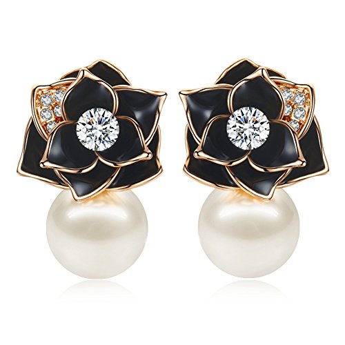 AllenCOCO Rose Flower Gold-Plated with Black Oil Inlay White Cubic Zirconia Pearl Earrings (Rose Gold)