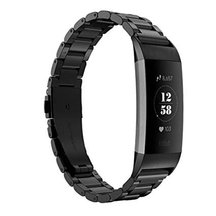 Amazon com: GeeRic Compatible for Fitbit Charge 3 Band Stainless