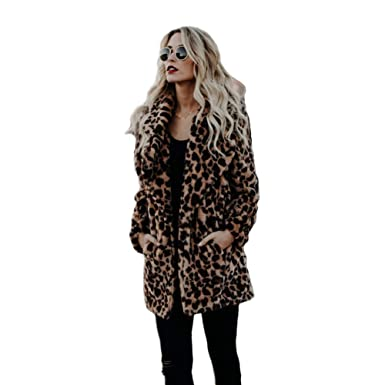 d9b4086c786 XIANIWTA Women s Winter Long Sleeve Coat Faux Fur Overcoat Plus Size Fluffy  Top Jacket Leopard (
