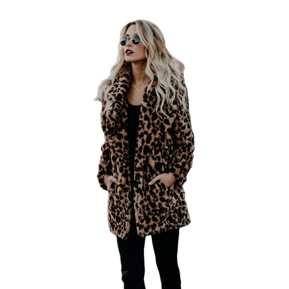 XIANIWTA Women's Winter Long Sleeve Coat Faux Fur Overcoat Plus Size Fluffy Top Jacket Leopard (2XL)