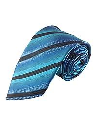 Mens Necktie Vibrant Turquoise Blue and Black Stripe Fancy Designer Tie