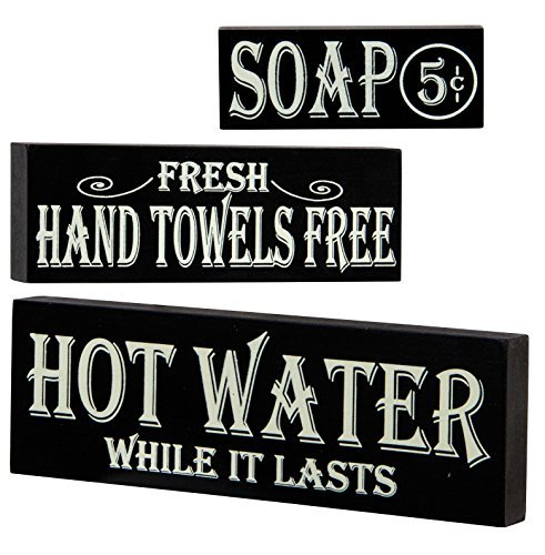 Hot Water, Hand Towels, Soap Lot of 3 Small Wood Block Signs Rustic Bath Country Vintage Look (Bathroom Vintage Signs)
