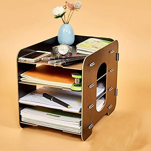Collocation-Online Office Desktop File Holder Storage Box Wooden Multilayer Shelf Mobile Household Desktop Box,Black by Collocation-Online (Image #4)