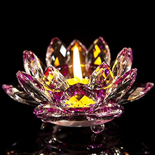Tea Stained Glass - YJY Crystal LED Candle Lamps Holder Night Light,Glass Tea Light Holder Handmade Artwork for Home Decor Christmas Wedding Party Gift 4.7