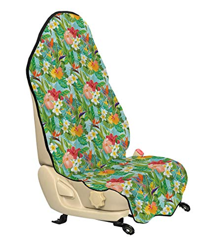 Seat Crepe - Lunarable Leaf Car Seat Hoody, Vintage Cartoon Style Image of Hawaiian Flowers Crepe Gingers, Car Seat Cover Protector Non Slip Backing Universal Fit, 30