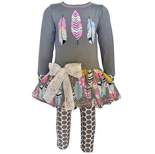 AnnLoren Little Girls 4/5T Boutique Feathers Tunic & Polka Dot Legging Clothing