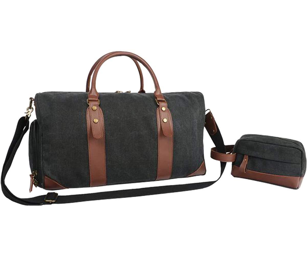 Travel Duffel Bag Canvas Overnight Weekender Shoulder Handbag Tote Carry on Bag Set for Men Women