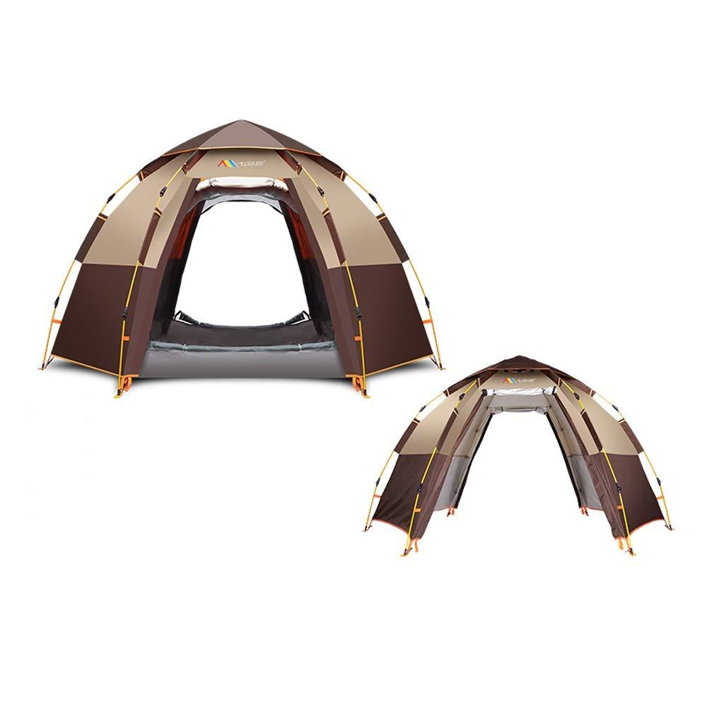 全自動屋外キャンプテント、5-8人、二重層構造、防水日焼け止め、ピクニック用ビーチパーク芝生フィールドに最適 - マルチカラーオプション  カーキ B07PB2MMQG