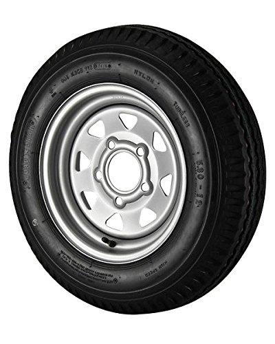 4.80X12 Loadstar Trailer Tire LRC on 5 Bolt Silver Spoke Wheel