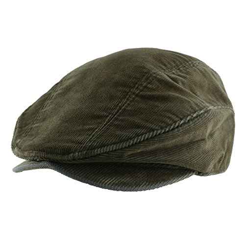 Morehats Corduroy Newsboy Cabbie Cap with Belt Irish Hunting Golf Driving Gatsby Hat - Olive