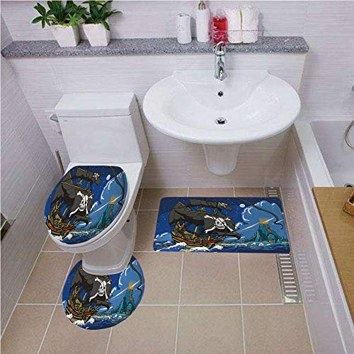 3 Piece Bathroom Contour Rugs ,Pirate,Caribbean Waters Adventure Time Volcano Explosion Sea Storm Skull Island Jolly Roger,Multicolor ,Bath mat set Round-Shaped Toilet Mat Area Rug Toilet Lid Covers 3