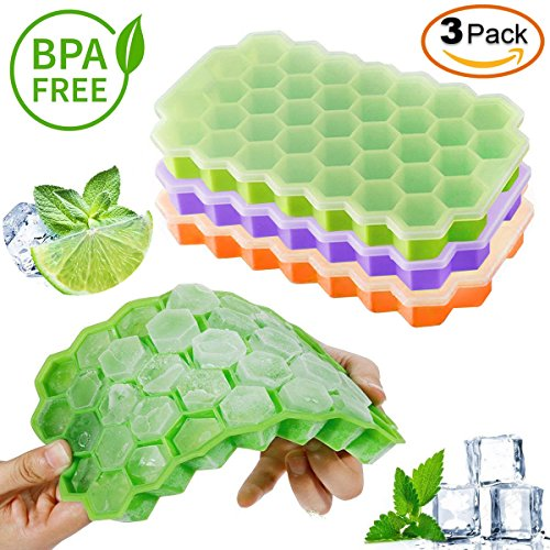 New Ice Cube Trays Silicone Easy Release 37 cubes — Flexible Ice Cube Maker with Stackable Removable Lid Mini Cocktail Whiskey Ice Cube Mold — BPA Free Green/Orange/Purple By KitchenHero (Cube Tray)