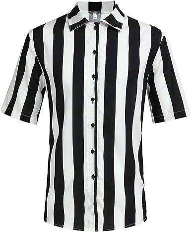 beautyjourney Camisa Hawaiana de Rayas para Hombre Camisetas de Playa Holgada de Verano Camisa Casual Camisas Retro de Manga Corta con Cuello Alto Tops: Amazon.es: Ropa y accesorios