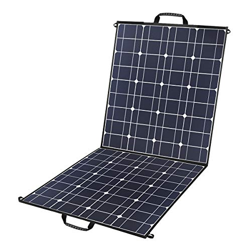 100 Watts 12 Volts Portable Solar Panel Kit Charger Foldable Flexible Monocrystalline Solar Charger with MC4 Connector and Dual-port(USB 5V + DC 18V) for Outdoors, Camping, Solar Generator, RV, ()