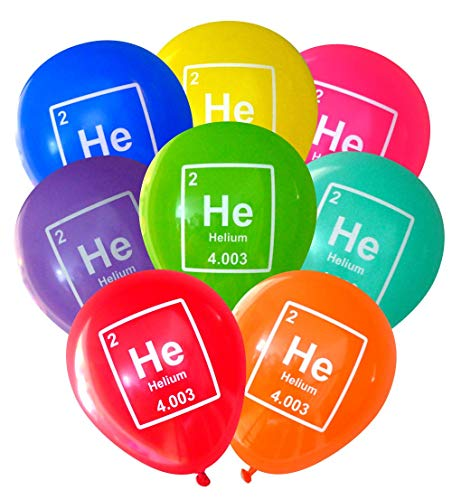 Mad Science Party Balloons - Helium (He) Periodic Table Element (16 pcs, Deluxe 2-Sided) by Nerdy Words (Assorted)
