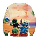 ZURIC Clothing Lilo & Stitch Hoodies Women Men Cartoon Sweatshirts Pullover (L)