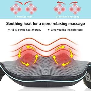Back Neck Shoulder Massager with Heat – Deep Tissue Kneading Electric Back Massage for Neck, Back, Shoulder, Waist, Foot – Shiatsu Full Body Massage, Relax Gift for Her/Him/Friend/Dad/Mom
