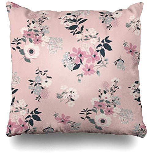 Throw Pillow Case Color Pink Flower Floral Pattern in Abstract Tile Ditsy Cute Rose Small Leaf Art Decor Home Pillow Cover Square Size 18 x 18 Inches Pillowcase