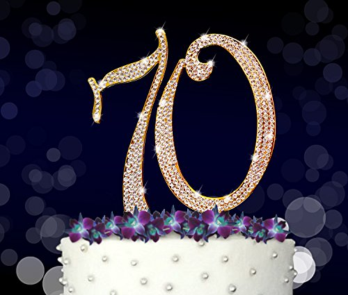 70 70th Happy Birthday Cake Topper Anniversary Crystal Rhinestones On Gold Metal Party Decorations Favors Vow Renewal