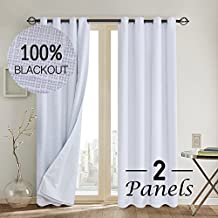 Primitive Linen Look,100% blackout curtain(with Liner)White blackout curtains& Blackout Thermal Insulated Liner,Grommet Curtains for Living Room/Bedroom,burlap curtains-Set of 2 Panels(52x84 White)p2